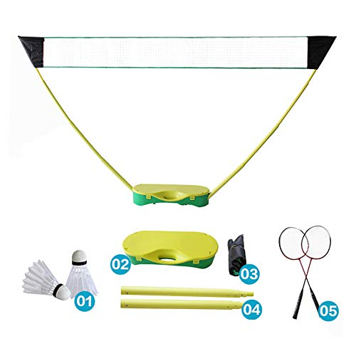 Portable Folding Badmintonnetz, Mobile Tragbares Badminton Netz With Badminton Racket, 3 In 1 Outdoor Tennis Badminton Volleyball Net, 10s quick installation