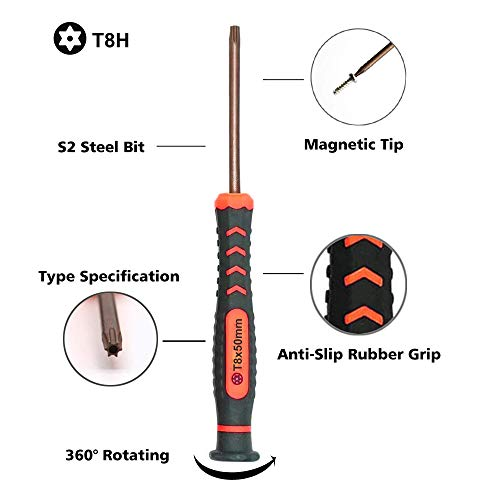 T8 Torx Screwdriver,EMiEN T8 T8H Security Screwdriver for PS3,PS4, Macbook,HDD,Xbox one and Xbox 360 Controllers Repair