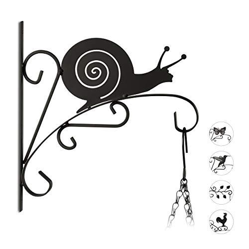 Relaxdays macetas Caracol, Gancho de Pared para cestos, decoración de jardín, Metal, 30 x 28 x 2 cm, Negro