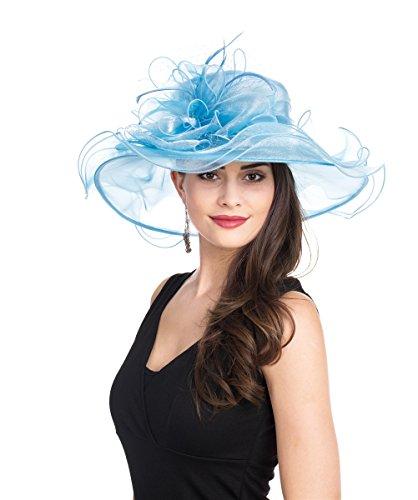 SAFERIN Women's Organza Church Kentucky Derby Hat Feather Veil Fascinator Bridal Tea Party Wedding Hat (GZ-Light Blue Mash)