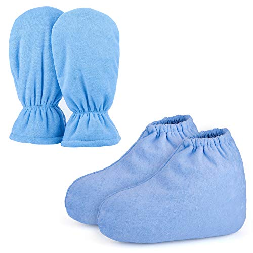 Paraffin Wax Mitts for Hand and Feet, Segbeauty Paraffin Bath Mitts and Booties with Double Terry Clothes, Snug Elastic Opening Paraffin Wax Glove and Bootie for Thermal Treatment, Wax Machine