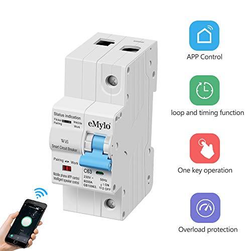 eMylo Smart WiFi Leistungsschalter 1P 63A 220-230V Miniaturschalter Schalter Automatische Wiedereinschaltung Überlastschutz Drahtlose Fernbedienung Zeitverzögerung Funktionsunterstützung Alexa/Echo