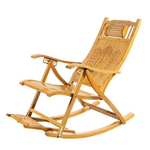 YLCJ middelgrote leeftijd en ouderen balkon lange afstandschommelstoel middagpauze vuil klapstoel volwassenen mand stoel bamboe schommelstoel ligstoel (kleur: C)