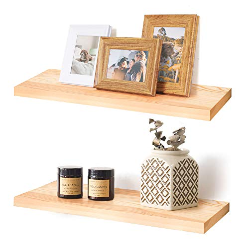 Labcosi Floating Shelves Wall Mounted with Invisible Bracket, Solid Pine, 2-Pack Natural Wood Display Ledges and Rack for Home Décor, Trophy Display, Photo Frames, Potted Plant, Burlywood