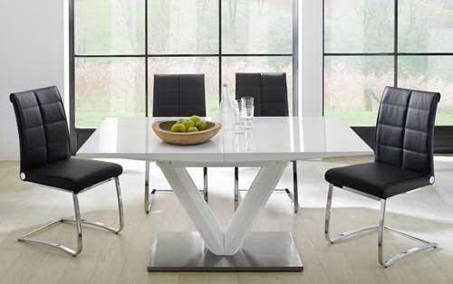 lifestyle4living Esstisch ausziehbar weiß Hochglanz, 90 cm breit | Esszimmertisch | Säulentisch | Ausziehtisch | Küchentisch
