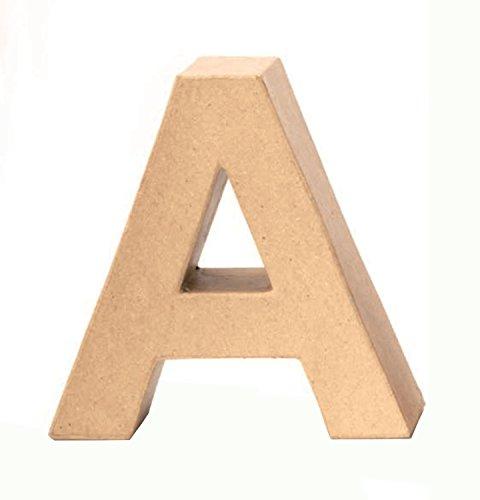 Glorex 6 2029 101 - Papp - Buchstabe A, Buchstabe aus brauner Pappe, ca. 17,5 X 5,5 cm groß, zum bemalen und bekleben, für Serviettentechnik und Décopatch, ideal als Dekoration