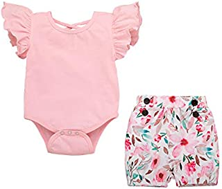 YOUNGER TREE Toddler Newborn Baby Girls Summer Clothes Set Pink Flying Sleeve Tops+ Floral Shorts Outfits 2Pcs