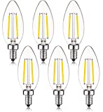 2W LED Chandelier Light Bulbs 25W Equivalent E12 Base Candelabra LED Bulbs Dimmable Ceiling Fan Bulb Clear Filament Vintage Home Decoration Candle Light Bulbs B11 2700K Warm White,6Pack
