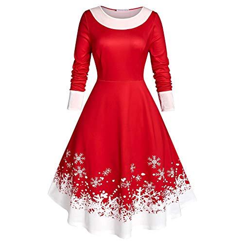 TWIFER Plus Size Frauen Vintage Weihnachten Partykleid Schneeflocke Druck Samt Party Langarm Kleid