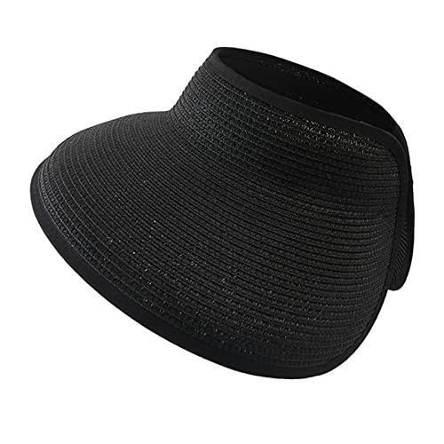 UKKD Sombrero De Copa Vacío Sombrero De Paja De Verano Plegable Sombrero De Paja Color Sólido Protección Solar Vacío-02,One Size