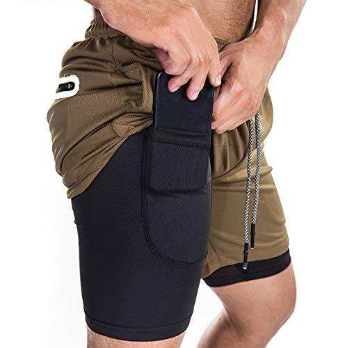 ASKSA Herren 2 in 1 Shorts Laufshorts Dual Kurze Sporthose Maenner Fitness Laufhose Sport Hosen Trainingshose