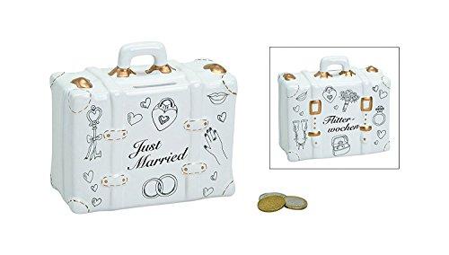 Topshop24you wunderschöne Spardose,Sparbüchse zur Hochzeit, Hochzeitskoffer mit Stickern