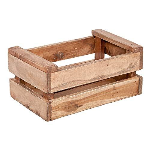 LEBENSwohnART Holzkiste TINI-S Rustic-Teak Obstkiste Weinkiste Kiste Apfelkiste Regal Mahagoni