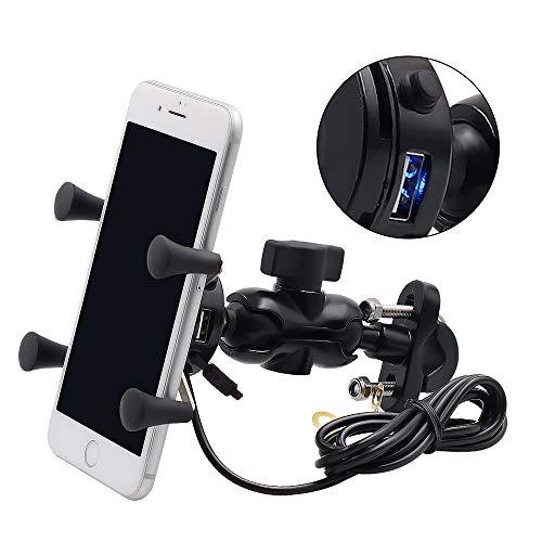 Preisvergleich Produktbild Kriogor 2 in 1 Motorrad Handyhalter,  Universal Drehbare Halterungen mit 2A USB Steckdose und 1.5m Anschlusskabel für 3.5-6 Zoll Smartphone