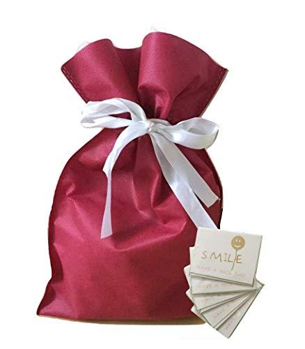 (pipinowa)ラッピング 袋 5枚 セット 簡単 包装 プレゼント 用 (ワインレッド, M)