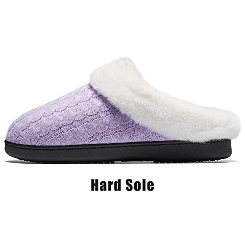 Mishansha Hombre Mujer Zapatillas de Estar por Casa Calentitas Zapatillas de Casa Cómodas y Antideslizante Pantuflas de Invierno Zapatos de Espuma Viscoelastica, Morado, 41 EU
