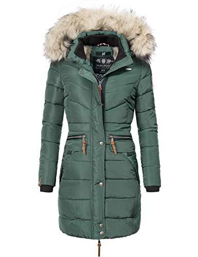 Navahoo Damen Winter Mantel Steppmantel Paula (vegan hergestellt) Grün Gr. M
