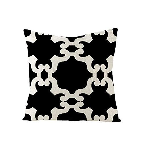 PPMP Funda de cojín de Lino Funda de Almohada de sofá con Estampado de Letras geométricas Negras Dormitorio Decoración del hogar Funda de Almohada para abrazar Funda de cojín A11 45x45cm 2pc