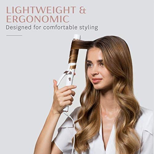 T3 - SinglePass Curl 1.25 Inch Professional Curling Iron   Custom Blend Ceramic Curling and Styling Iron with Adjustable Heat Settings for Shiny Smooth Curls and Waves