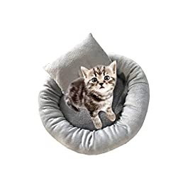 Lucky H 3pcs Plush Donut Pet Bed,Dog Cat Round Warm Cuddler Kennel Soft Puppy Sofa,Soft Pet Bed for Cats and Small Medium Dogs Portable Cat Dog Puppy Bed Nest Bed Doughnut Sleeping Bed Calming Bed