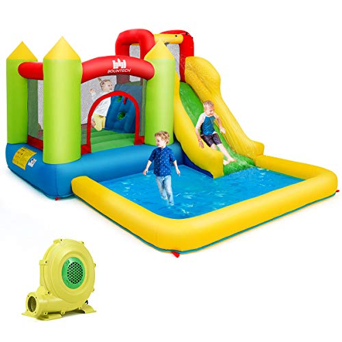 Costzon Inflatable Bounce House, Kids Water Slide with Climbing Wall, Jumping Area, Plash Pool, Including Oxford Carry Bag, Repairing Kit, Stakes, Hose (with 480W Air Blower)