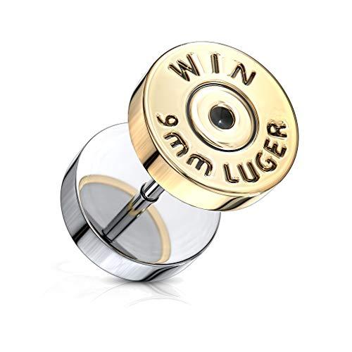 BlackAmazement Fake Plug 316L Edelstahl Bullet Patrone Kugel Winchester Magnum Silber Gold Biker Herren