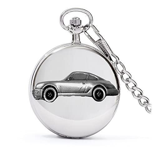 Clásico alemán coche deportivo 911 Carrera ref193 diseño de efecto peltre en una caja de plata pulida para hombre regalo cuarzo reloj de bolsillo