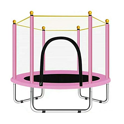 COMEJUMP 55in Trampoline for Kids Boys Girls, Indoor or Outdoor Trampoline for Toddlers with Safety Enclosure, 4. 5FT (55'-Pink)