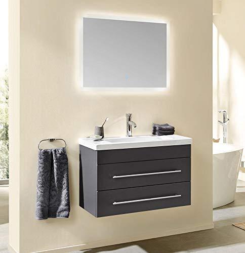 Posseik Badmöbel Set Neptun 800 LED Spiegel anthrazit seidenglanz Waschbecken