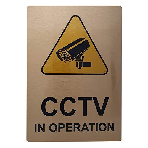 A6 Aluminium CCTV In gebruik Sign-MET IMAGE-Geborsteld GOLD Metaal-Waarschuwing Veiligheid Camera Deur Kennisgeving School Office Restaurant