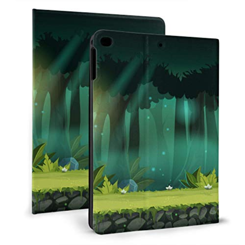 Kids Shockproof Ipad Case Forest Green Tree Peaceful Ipad Cover For Men For Ipad Mini 4/mini 5/2018 6th/2017 5th/air/air 2 With Auto Wake/sleep Magnetic Ipad Case Protector