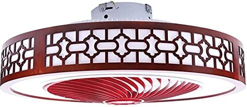 MAMINGBO Ventilador de techo con luz y control remoto Lámpara de ventilador de techo LED round |Luz de techo montada al ras con hojas remotas, transparentes y patrón de madera de madera tallada a mano