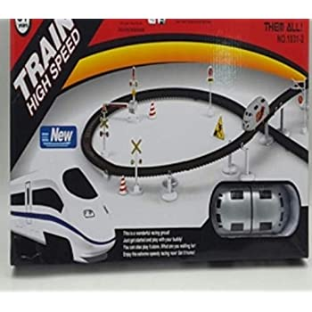 Brunte Kids Toy Train High Speed Big Train Playset Toy Battery Operated Train Set with Light and Sound