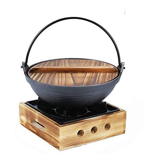 Verdicken Bottom Sukiyaki Pot, Unbeschichtet Antihaft-Pfanne Sukiyaki Kochgeschirr Sukiyaki Hot Pot, Küche Kochen Gusseisen Suppentopf,20cm