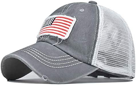 Wocachi American Flag Baseball Cap for Women and Men Vintage Adjustable Distressed Washed Trucker Ponytail Unisex Hat
