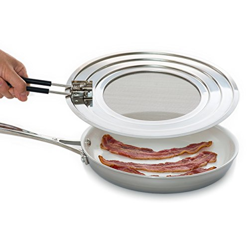 Splatter Screen Guard - Blocks Hot Grease Splash from Bacon, Shield Skin from Oil Burns, Universal Lid for Frying Pans, Easy to Clean, Dishwasher-Safe, Foldable Heat-Resistant Silicone Handle Skillet