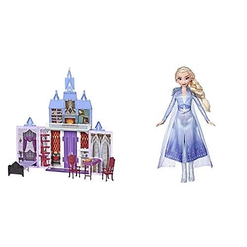 Frozen 2 - Castillo De Arendelle Portátil (Hasbro E5511EU4) + 2 -Muñeca Elsa(HasbroE6709ES0)
