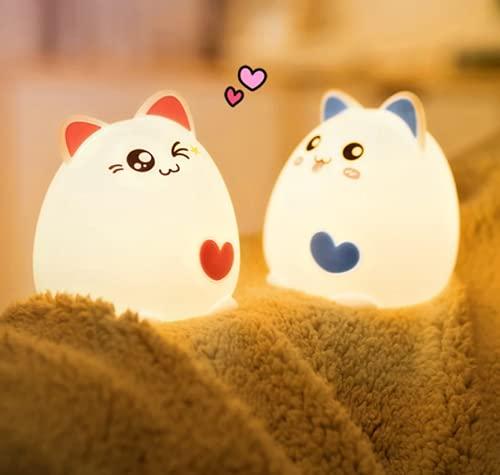 Dibujos animados creativos animales corazón gato gatito LED niños colorido noche luz táctil sensor USB recargable lámpara decoración regalo (2 unids conjunto)