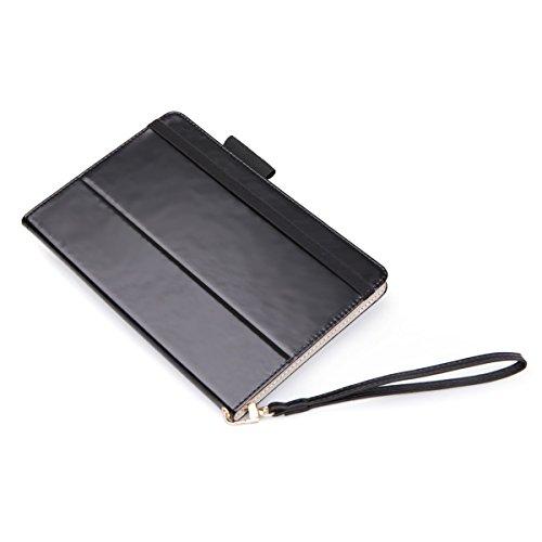 Acase 8インチ汎用タブレットケース、高級合成革ケース、360度回転、手帳型、ストラップつき、ドコモ dtab ...