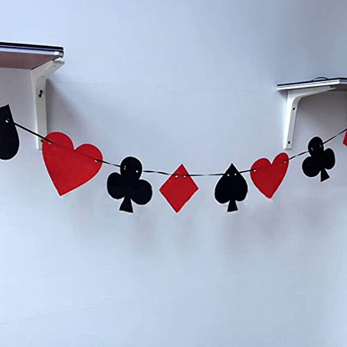 Banners - Poker Banner Playing Cards Bunting Flag Creative Casino Party Felt Sign Birthday Hanging Decoration - Streamers Banners Streamers Confetti Birthday Poker Petersham Ribbon Decor Party