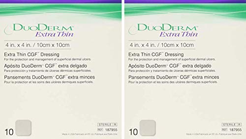 ConvaTec DFW DuoDerm Hydrocolloid Dressing 187955 4 x 4 pulgadas, arena, 2 cajas de 10