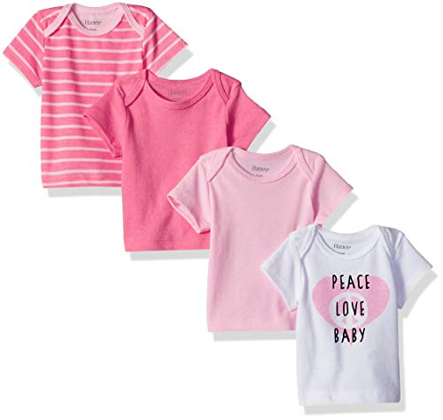 Hanes Ultimate Baby Flexy 4 Pack Short Sleeve Crew Tees, Pink/Pink Stripe
