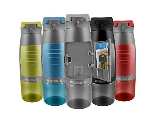 MegaThree - Botella Deportiva, sin BPA, 750 ml, con Bolsillo, Ideal para Tarjeta de Crédito, Llaves y Dinero, para Gimnasio y Ciclismo (Gris)