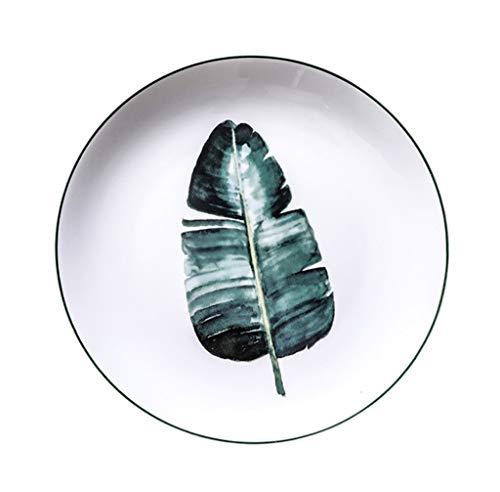 Dîner en Porcelaine de Malacasa Assiettes à dîner Artisanales Assiettes à Salade Colourworks Assiettes Rondes Assiettes à Dessert en céramique sécuritaires Assiettes Creuses Fleur rôtie Verte 22,6 cm