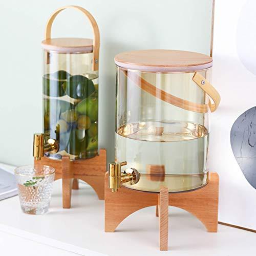 Bucket Yxx@ Dispensador de Bebidas de Cristal - Botella con Grifo Soporte y Tapa de bambú para Bebida Caliente o fría - Garrafa de Agua de 3L,7L(Ámbar, Colorido)