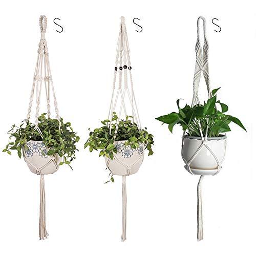 Plant Hanger Kit, 3 Plant Hanger Full Cotton Twisted Colgante Plant Holder Single Bead Plant Pot...
