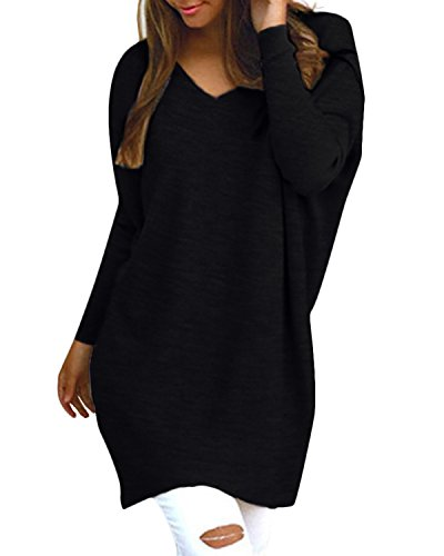 Style Dome Femme Oversize Pull Tops Col V Manches Longues Casual Shirt Robe Tunique Blouse, 723402*noir, M