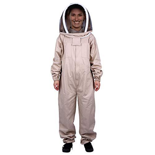 Mufly Imkeranzug mit Zaunschleier für Imker,Belüfteter,Baumwolle Imker-Anzug,Unisex Imker Biene Anzug für Professionelle Imker und Anfänger(XXL, Khaki)