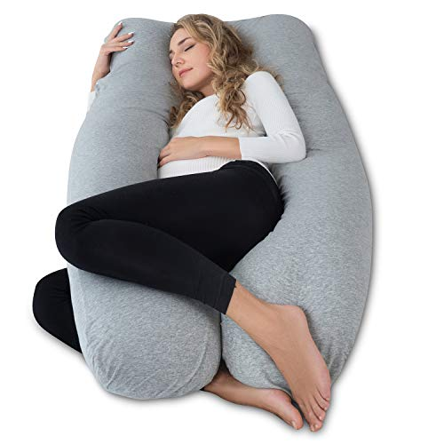 AngQi Full Pregnancy Pillow - Maternity Body Pillow for Pregnant Women - with Cool Jersey Cover