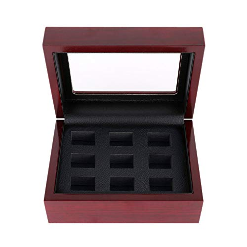 Wooden Championship Ring Storage Box Heavy Porous Display Case Jewelry Organizer Without Ring (9 Holes)